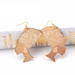 Jewelry - NEW! African Goddess Wooden Earrings